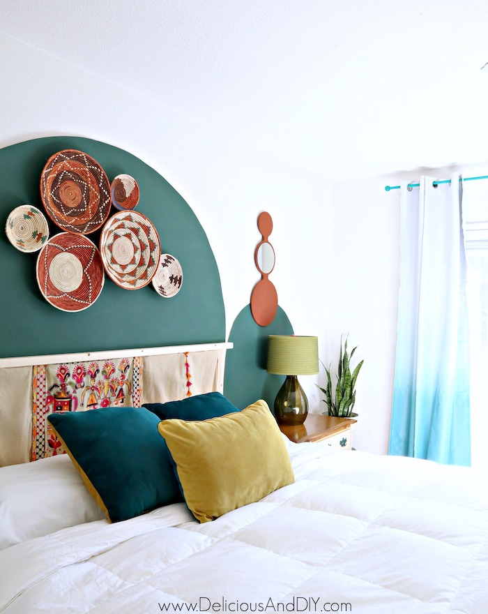 diy arch headboard without using paint and rental friendly