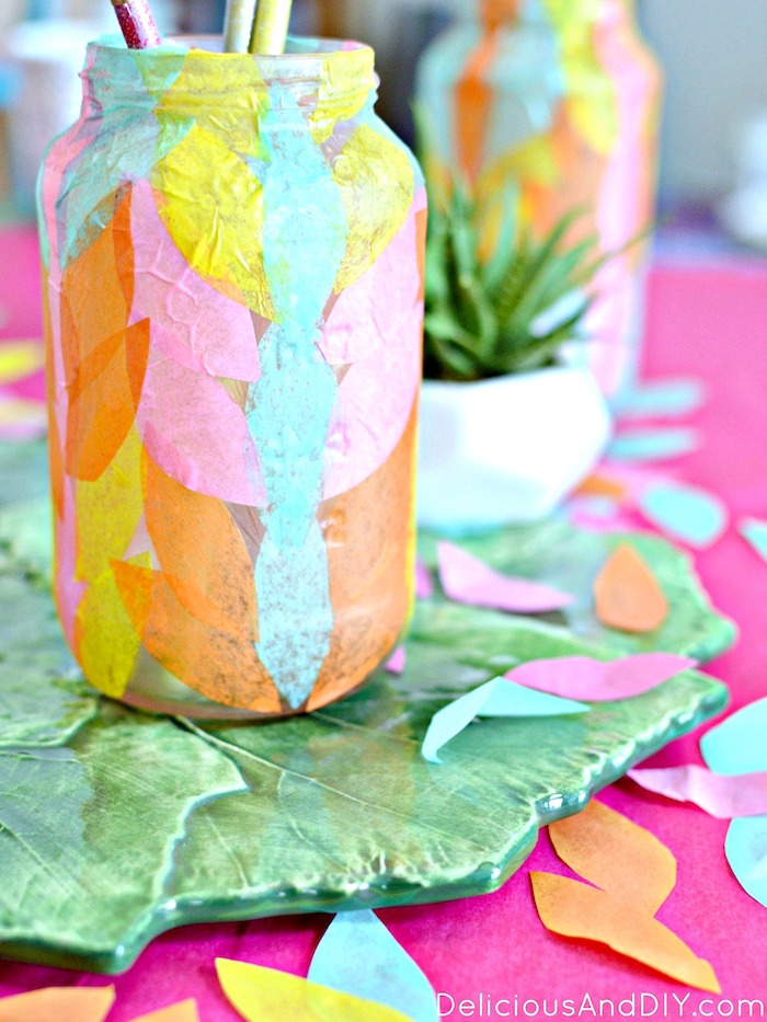 vase makeover using colored paper and decoupage glue
