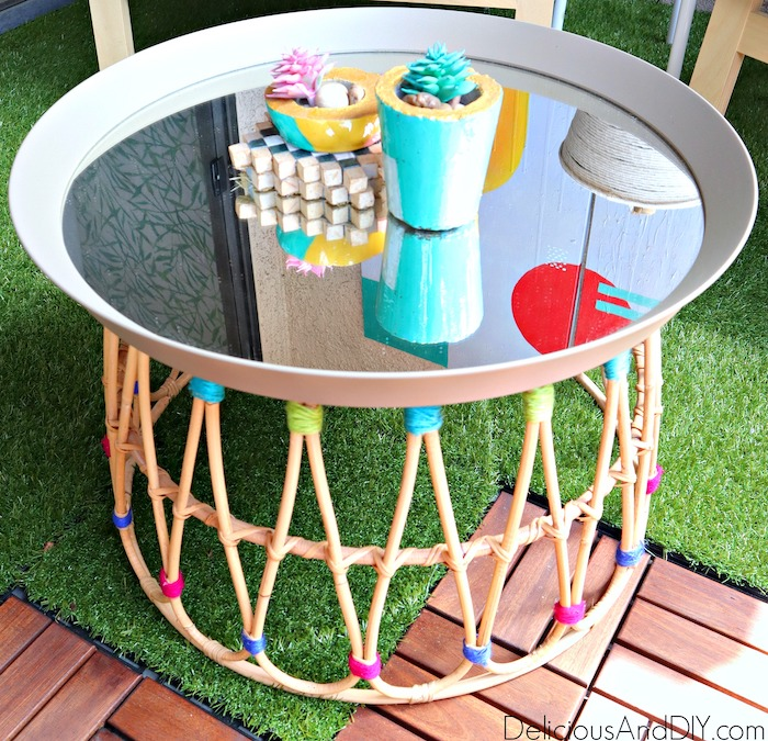 ikea basket and ikea mirror turned into a coffee table