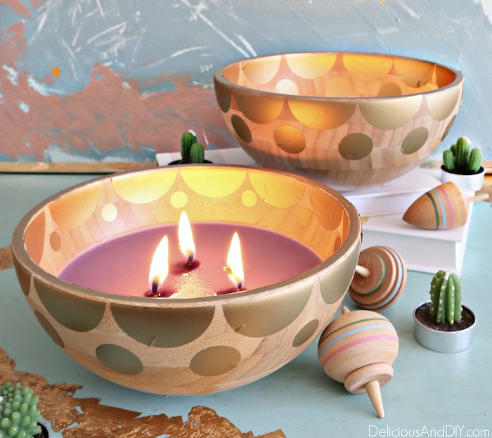 diy wooden bowl candle