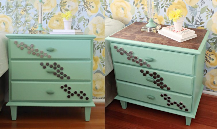DIY Mint Green Nightstands Makeover