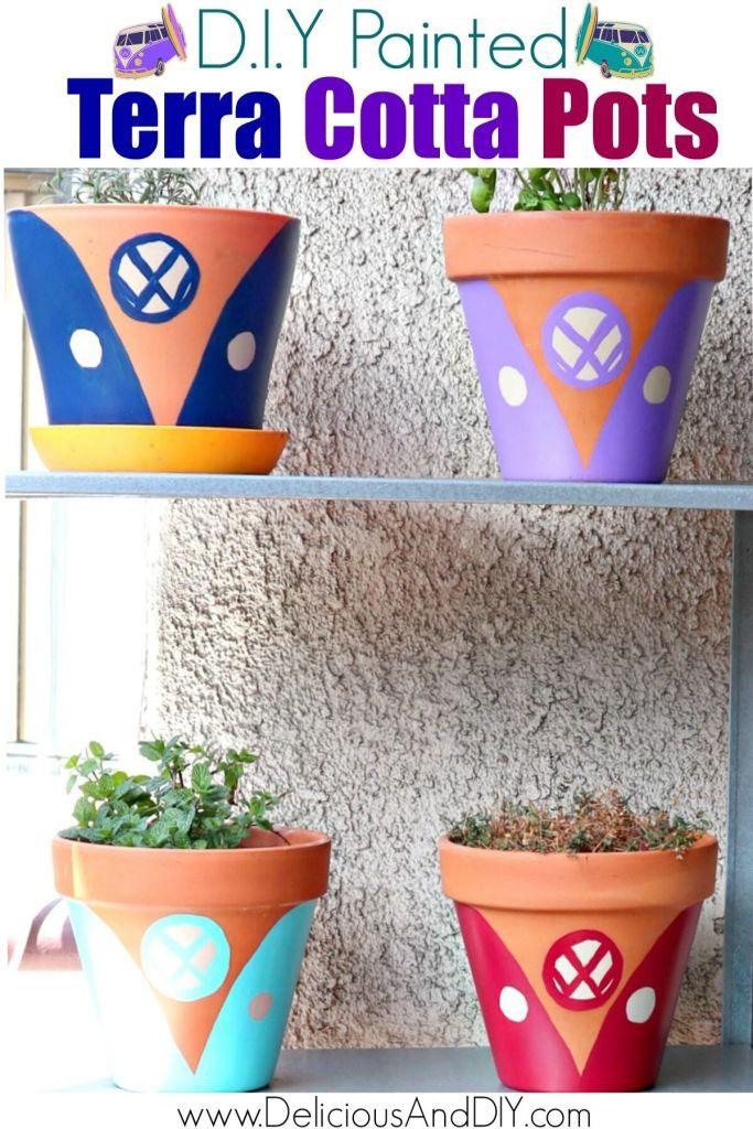 outdoor pots painted in the volkswagen design