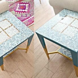 diy table makeover using floor tiles