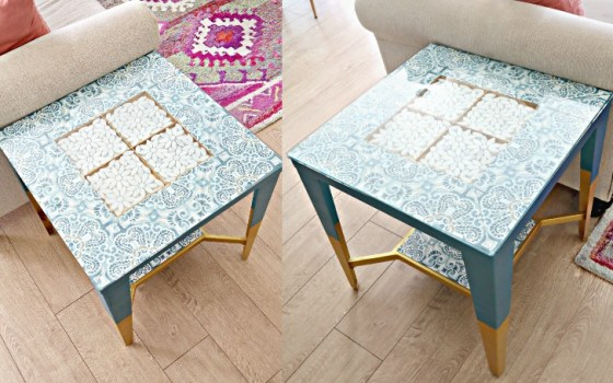 diy table makeover using floor tiles