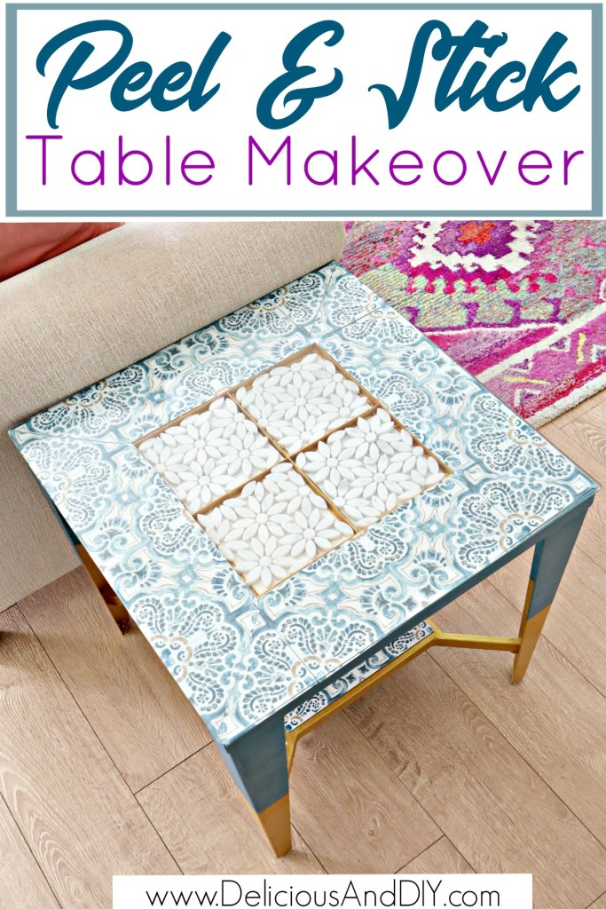peel and stick tiles transforming a thrifted table