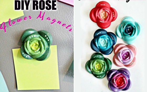 diy rose flower shaped magnets made from fastcast resin and silicone mold