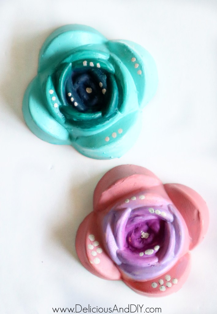 light pink and light blue ombre diy rose flower magnets