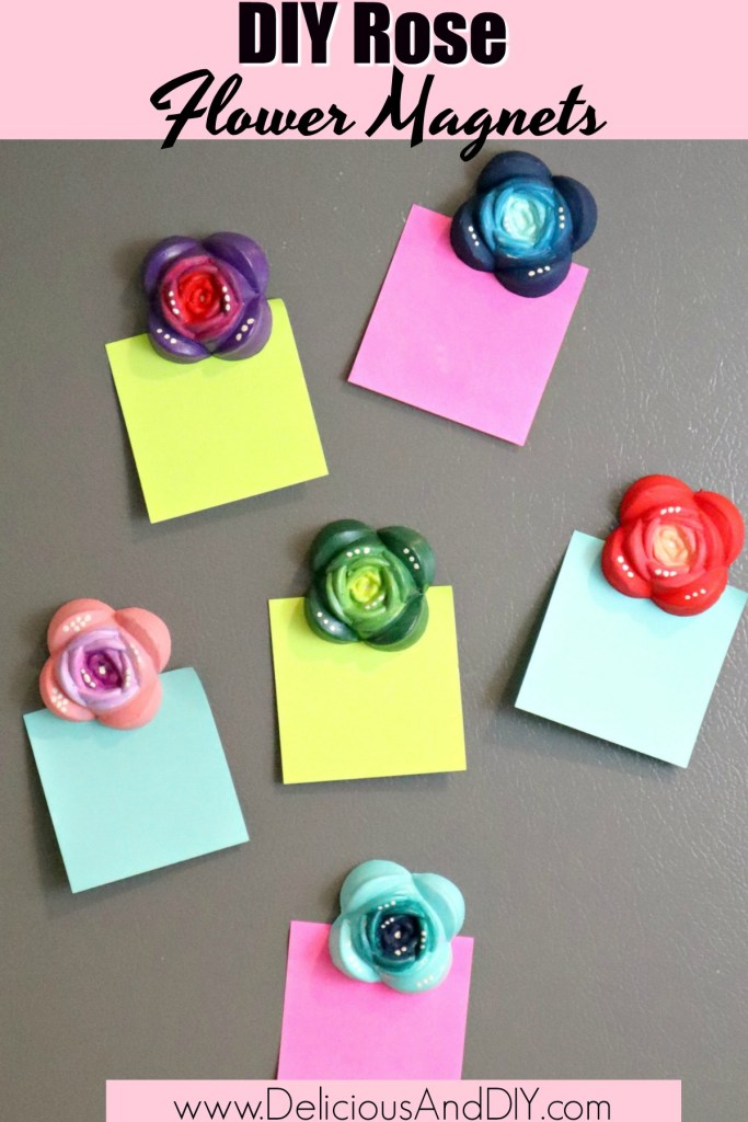 diy rose flower magnets on the fridge