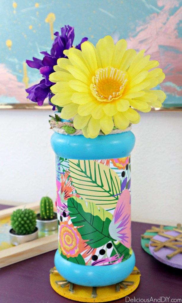 how to decorate empty vase with flower paper