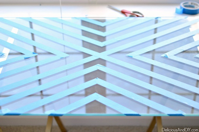masking tape on glass table top