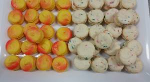fireball birthday cake macaron