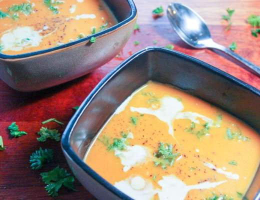 This Thai Carrot Squash Soup is creamy, delicious and can be made with any root vegetables you have!
