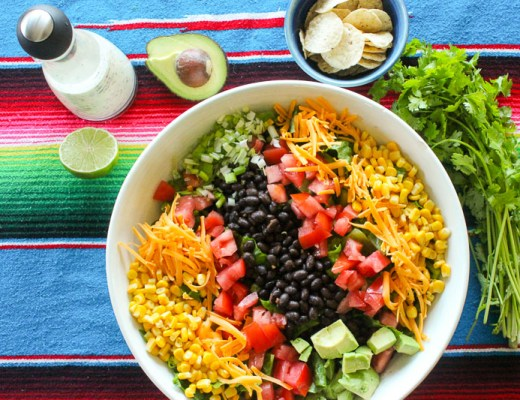 This Healthy Mexican Salad is super easy to make and is amazing with our Creamy Cilantro Lime Dressing! Make it as a dinner salad or a side dish - it's fantastic!