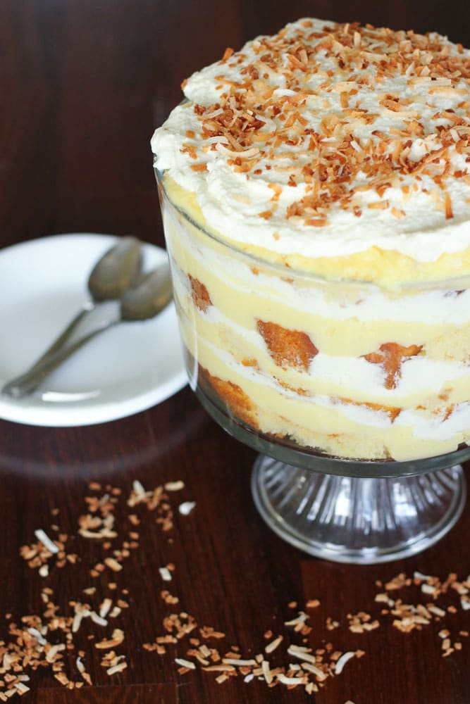 This Easy Coconut Cream Trifle is so much easier than pie, and at LEAST as delicious. You can make all the parts ahead of time and assemble it at the last minute!