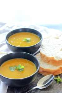 Coconut Curry Carrot Soup. These five $5 meals for fall are perfect for anyone who wants to save money on groceries! Whip up these cozy, hearty meals and warm up your fall, without spending your whole grocery budget!