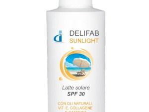 protezione,solare, delifab,sunlight, oli,naturali, vitamina e, collagene. caffeina, laboratori, barbato