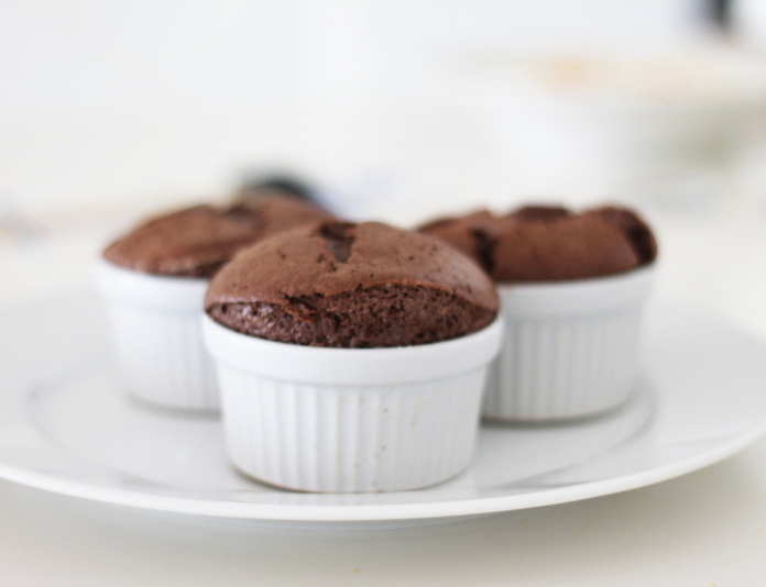 Almost evenly risen chocolate souffle :)