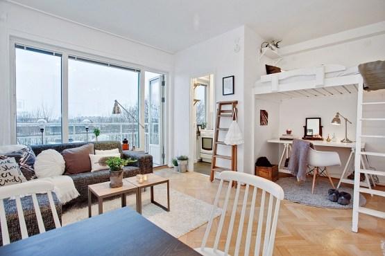 pisos decorados muebles ikea interiores espacios pequeños estuidos y mini pisos decoración estilo nórdico diseño de interiores decoración de interiores cocinas blancas pequeñas cama en un altillo blog decoración de interiores