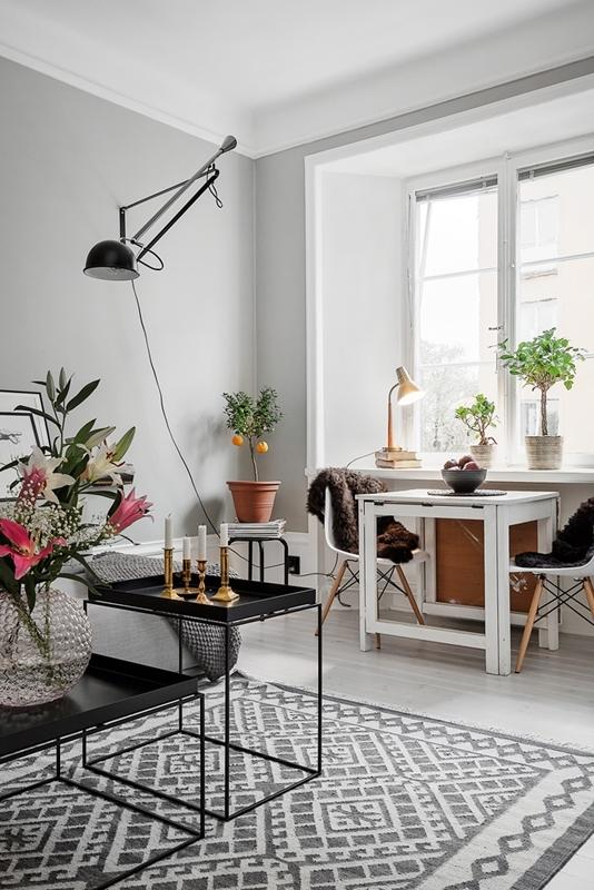 Piso peque o con paredes grises blog tienda decoraci n for Decoracion nordica pisos pequenos