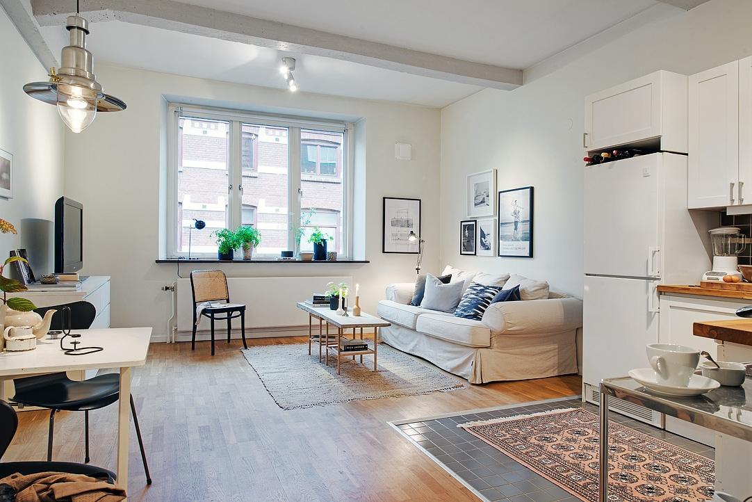 Piso peque o con amplio sal n y terraza comunitaria blog for Decoracion de pisos pequenos fotos