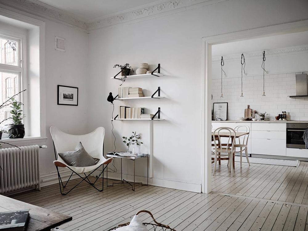 Cocina n rdica con baldosa metro y encimera de madera - Estilo nordico decoracion ...