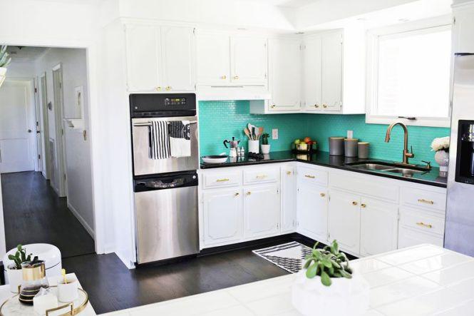 Antes despu s de cocina anticuada a moderna y brillante - Cocinas pintadas fotos ...