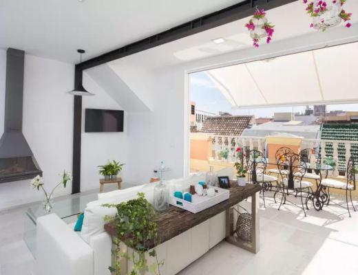apartamento vacaciones malaga, blog decoracion interiores, decoración en blanco, estilo nórdico escandinavo, Fabuloso ático de vacaciones, pisos airbnb malaga, pisos con terraza malaga, pisos de vacaciones málaga