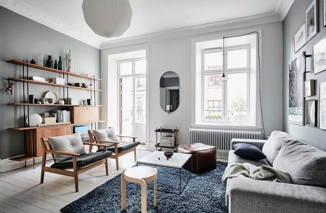 blog decoración nórdica, cocina nórdica, colores fríos decoración, decoración pisos pequeños, detalles cálidos, paredes azules, piso nórdico