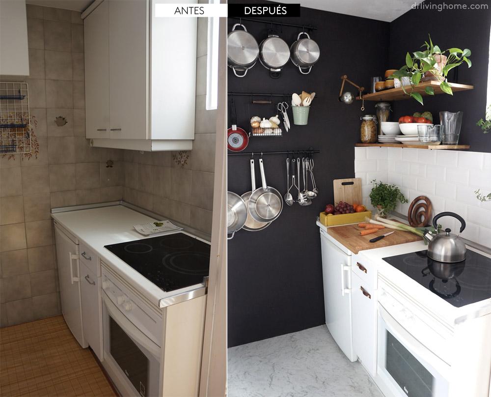 Antes despu s una peque a cocina negra blog tienda - Como reformar una cocina ...