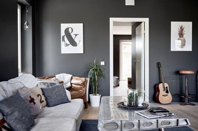 salón negro paredes negras estilo escandinavo distribución abierta diseño interiores decoración interiores color negro pared blog decoración nórdica