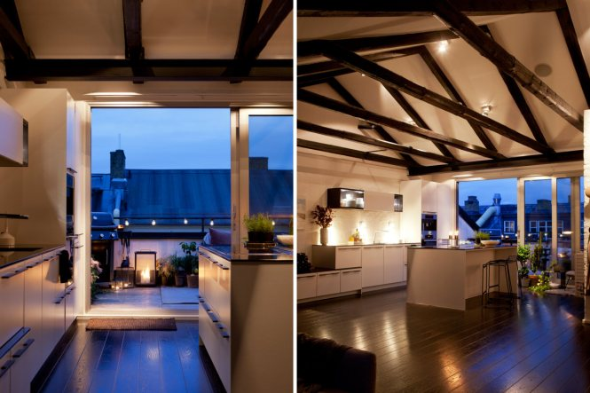 Cocina con isla y terraza