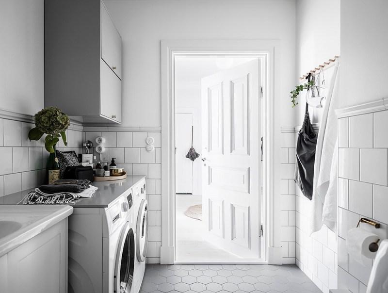lavadora en el cuarto de baño estilo escandinavo decoración nórdica cuarto de baño nórdico cuarto de baño estilo nórdico cuarto de baño blanco baño de estilo nórdico
