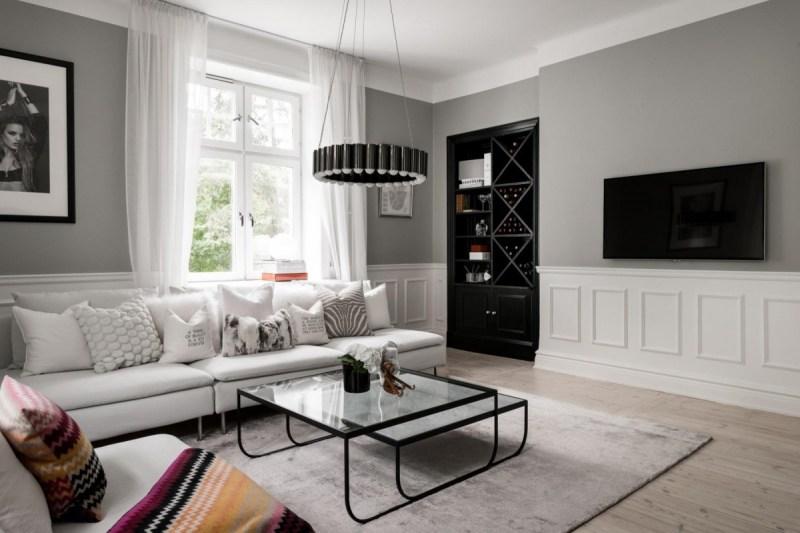 tele decoración salón elegante mueble bar deco integrar tv decoración estilo escandinavo decoración salones con tele