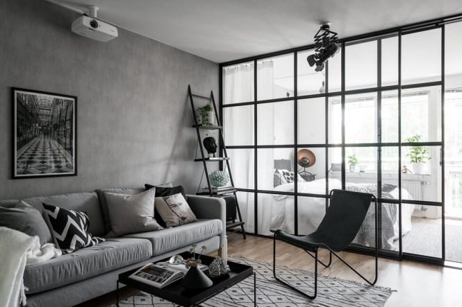 sillas de metal sillas de diseño pared de cristal estilo nórdico industrial estilo escandinavo negro gris decoración industrial cocina abierta
