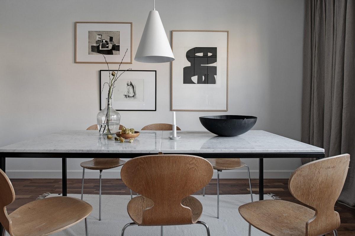 Comedor con mesa de mármol y sillas de diseño - Blog tienda ...