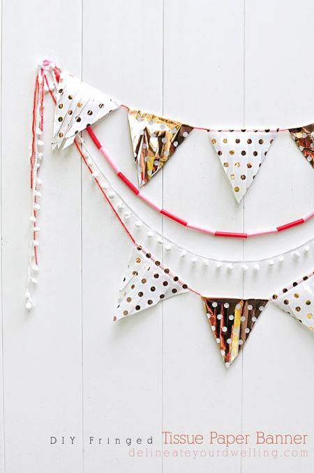 DIY Fringed Tissue Paper Banner, Delineate Your Dwelling