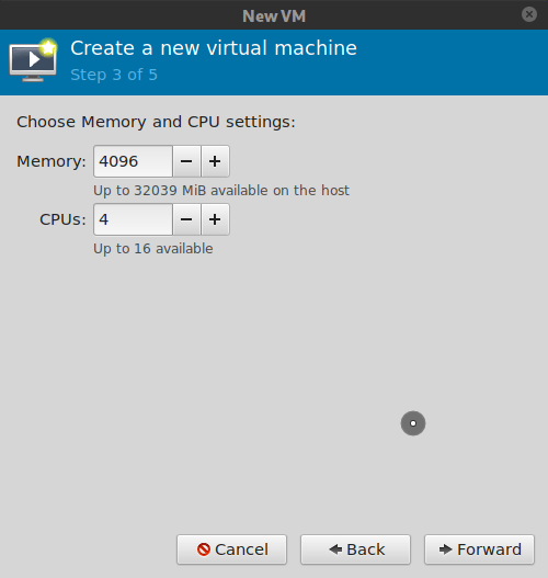 Virt-manager, set memory and CPU