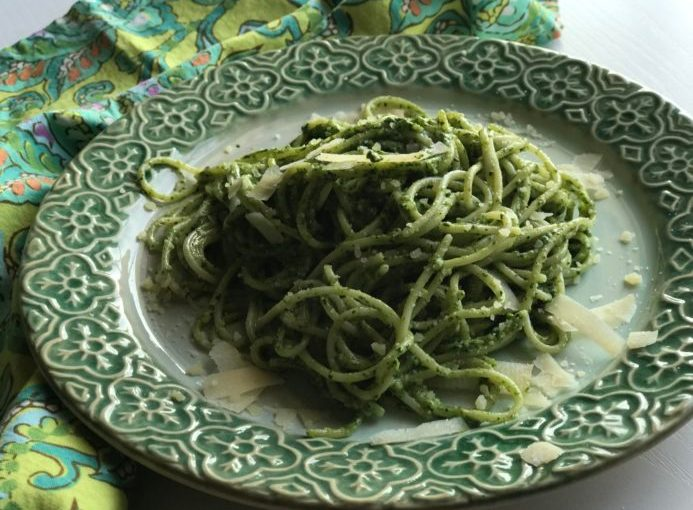 A Departure from Basil Pesto is Improved with Fresh Spinach!