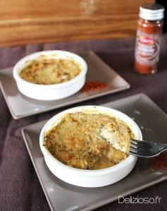 Gratin de crabe & Champignons – «épices Tandoori» – 110 calories