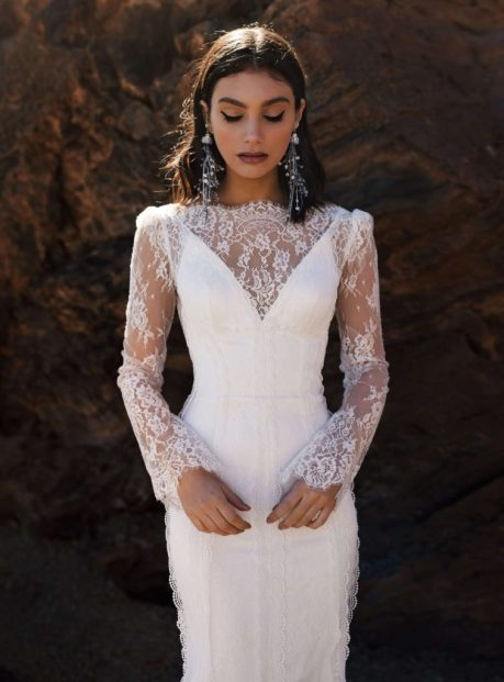 Yara wedding dress with delicate lace sleeves from the Dream Ocean Collection