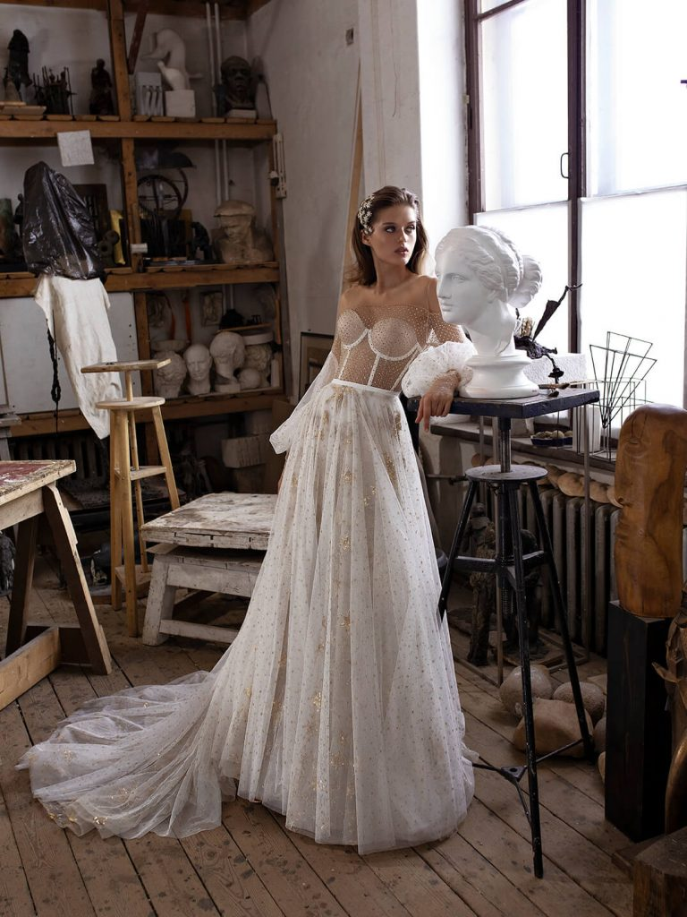Unique wedding dress Mullet with transparent bodice, skirt with stars, feel special on your wedding day