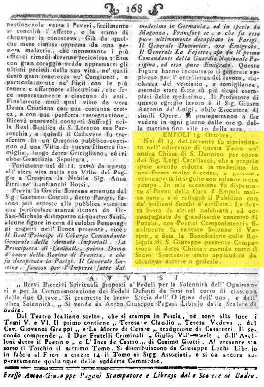 GAZZETTE TOSCANE 28 1793