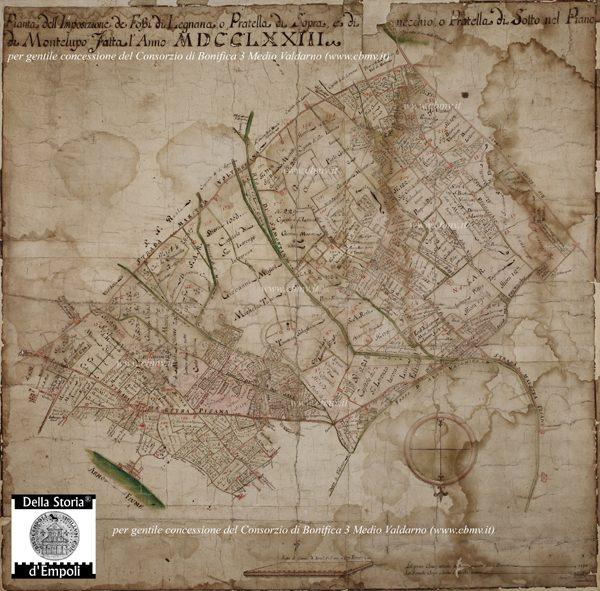 mappa n 01 Imposizione Fossi di Legnana, Pratella e Prunecchio 1773