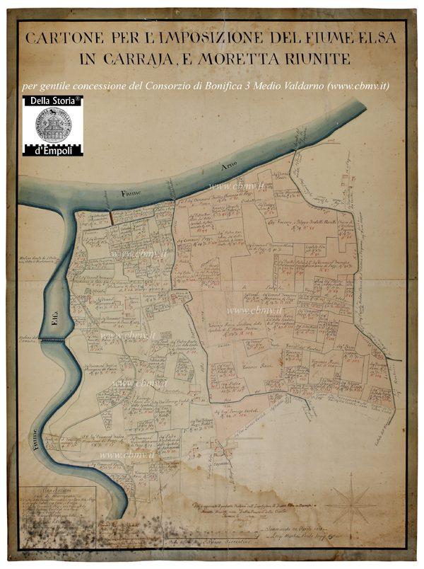 mappa n 03 Imposizione del Fiume Elsa in Carraja e Moretta 1818