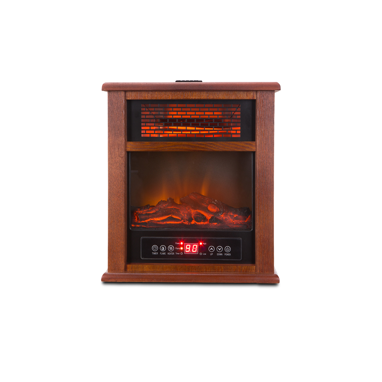 Portable Electric 4 Element Infrared Stove Fireplace Wood