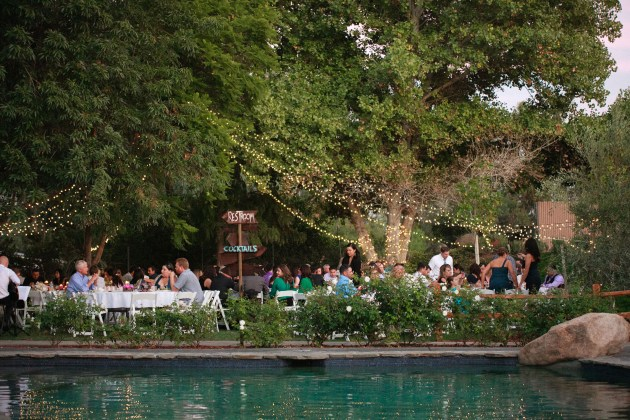 evening reception outdoors at bella gardens