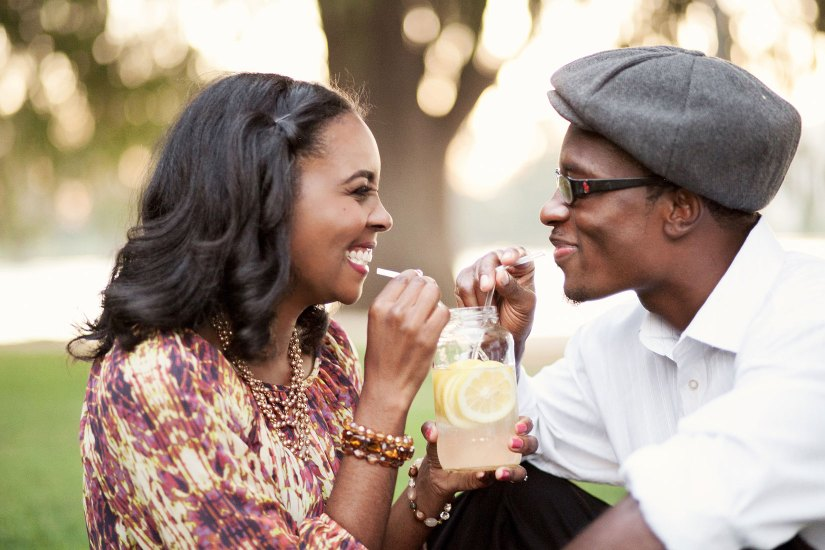 cute engagement photo with lemonade