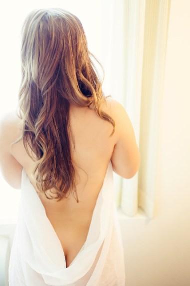 nude photo with sheer fabric boudoir