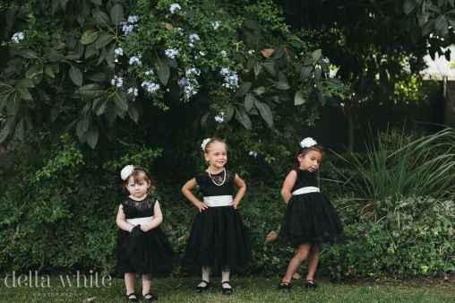 flower girls in the garden before the wedding
