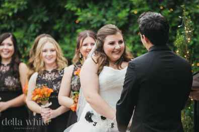 happy bride during her vows